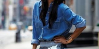 Combination of Chambray Shirt with Sequin Skirt